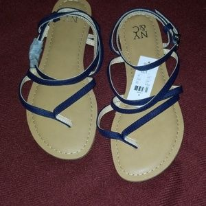 Navy strappy sandals size 6 new w/tags